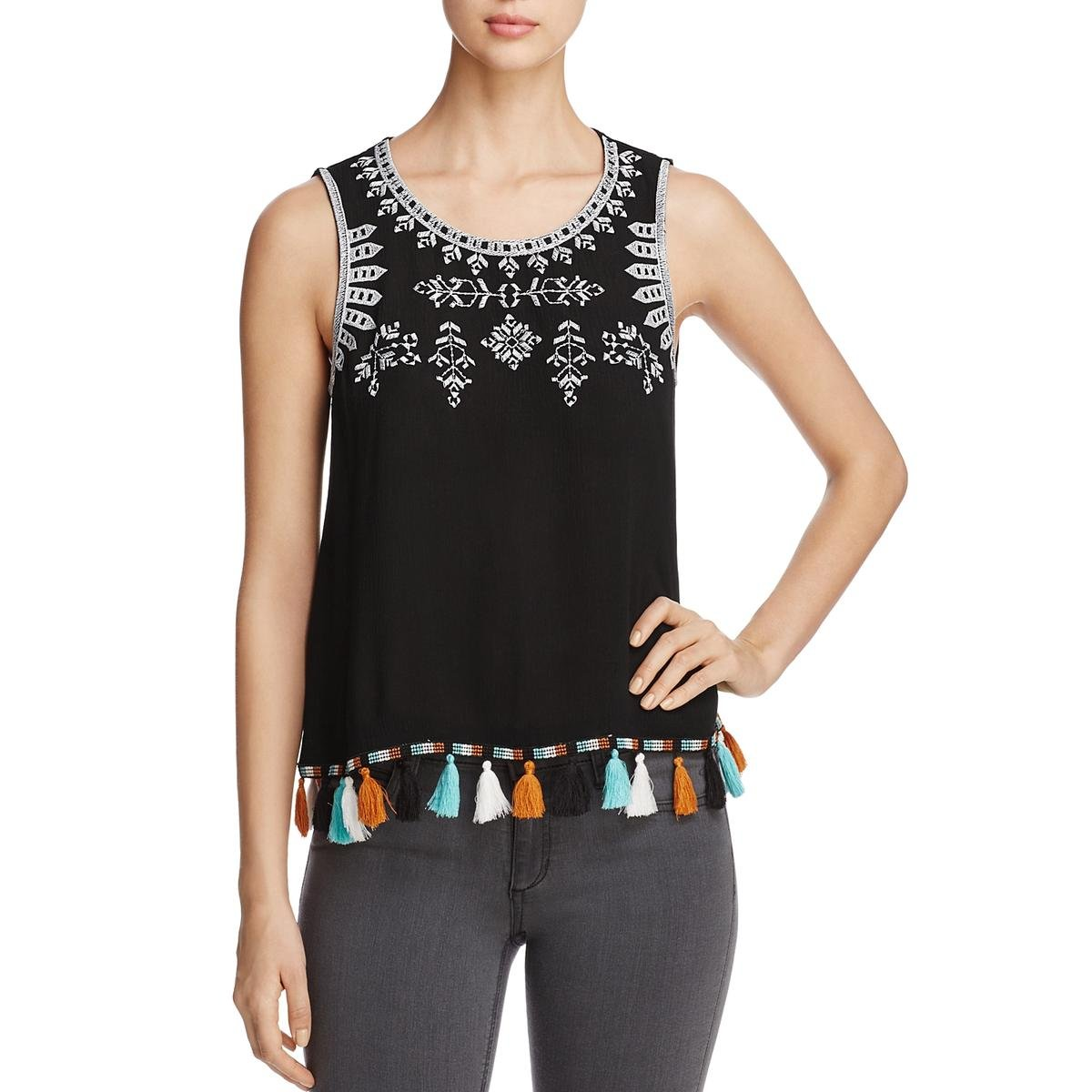 Status by Chenault Womens Embroidered Sleeveless Muscle Tank