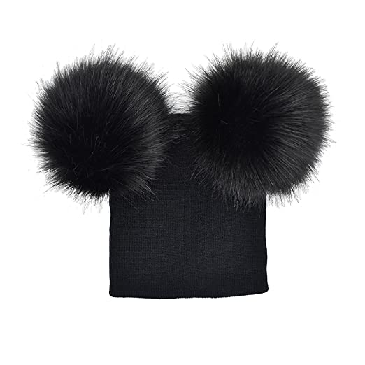 54f5cf34702 Amazon.com  SELFON Kids Warm Winter Caps Double Fur Pom Pom Beanie Wool Knitted  Hat Baby Boys Girls Two Raccoon Balls Cap (Black 1)  Clothing