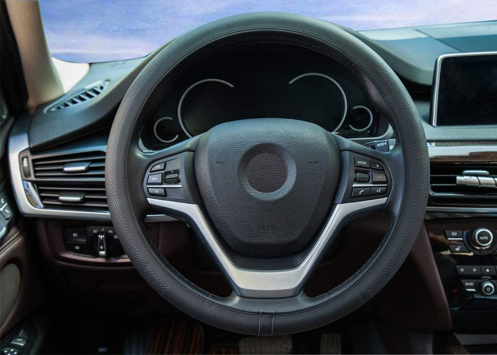 Without Inner Ring Car Steering Wheel Cover Universal 37-38cm//14.5-15inch Anti-slip ZATOOTO Steering Wheel Cover Leather Yellow Thin