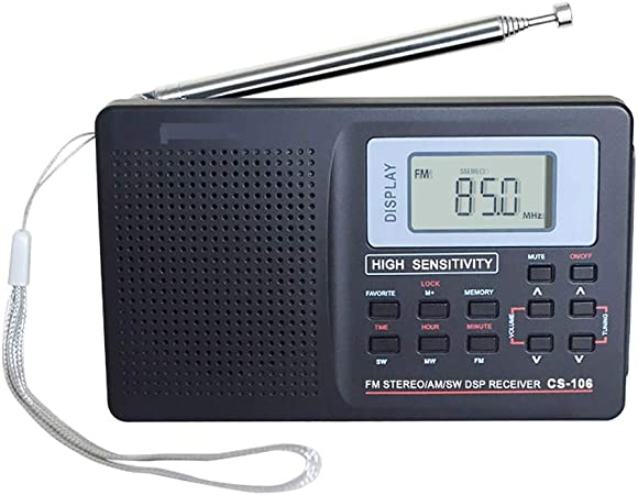 ENticerowts Receptor de Radio de Banda Completa CS-106 Mini portátil LCD Am/FM/SW/LW/TV función de Memoria de Sonido de Banda Completa Receptor de Radio: Amazon.es: Hogar