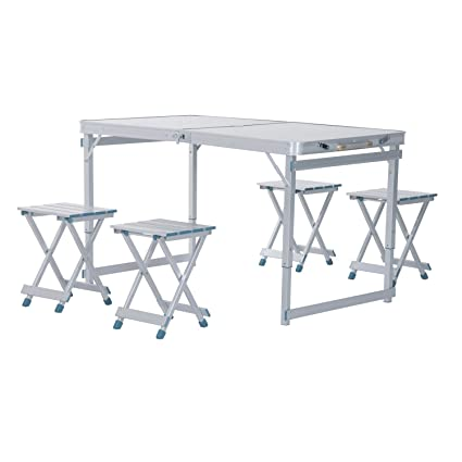 Outsunny 4u0027 Portable Folding Outdoor Picnic Table W/ 4 Seats   Silver