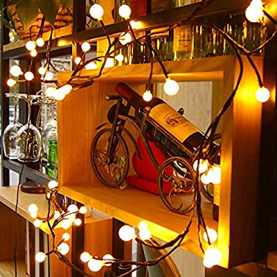 Globe Decorative String Lights,BaiYunPOY 8.3Ft 72 LED Hanging Indoor/Outdoor String Lights for Garden,Xmas Party,Bedroom,Dorm,Window Curtain Backyard,Party,Wedding(Warm White) - INNOVATIVE LIGHTING - There are 72 energy-saving light bulbs, divided into 24 groups with three light bulbs in each group(0.95in/0.75in/0.55in). The vineyard-like effect resembles grapes on a vine. The flexible wire gives you a lot of freedom to place in different patterns. Use your creativity! 8 MODES & MEMORY FUNCTIONS - There are many beautiful effects to choose from: combination, waves, sequence, glowing , chasing, slow fade, twinkle, and steady on. It automatically records your previous setting even after unplugging it and it will start from the last mode used. EASY TO USE - Plug in or unplug the cord for easy power on and off. US standard voltage, 24V, with one button for switching between 8 modes. - patio, outdoor-lights, outdoor-decor - 614coN3EEkL. SS400  -