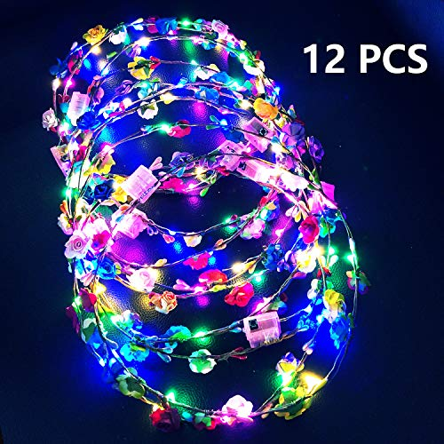 12 Pack Glowing Wreath LED Flower Crown, LED Light Up Floral Garland Wreath Headdress for Girls and Women Hair Accessories, Wedding Festival Holiday Christmas Halloween Party Headwear