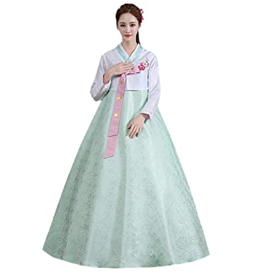 b5ebfbd4f74 Amazon.com  XINFU Women Korean Traditional Long Sleeve Classic Hanboks Dress  Cosplay Costume  Clothing