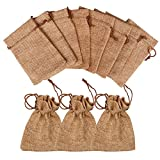 SuPoo 50 Pack Burlap Bags Drawstring Gift Bags Jewelry Bags Jute Hessian Sacks for Wedding Party Christmas