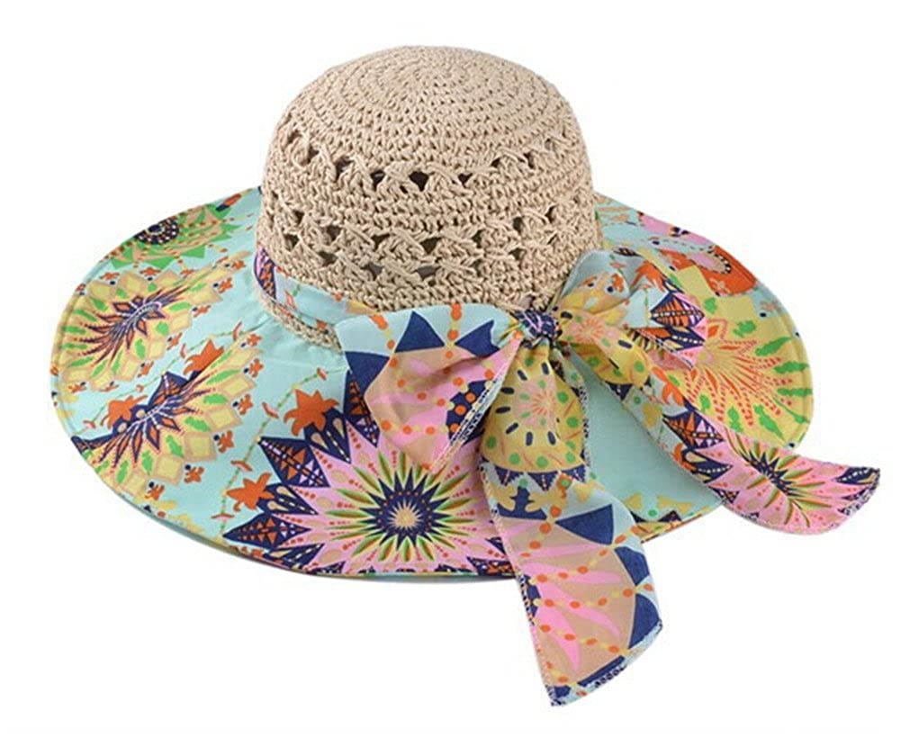 Roffatide Floral Printing Straw Sun UV Protection Hat Big Bowknot Summer  Hollow Wide Brim Travel Beach Cap for Women Beige at Amazon Women s  Clothing store  30d406692655