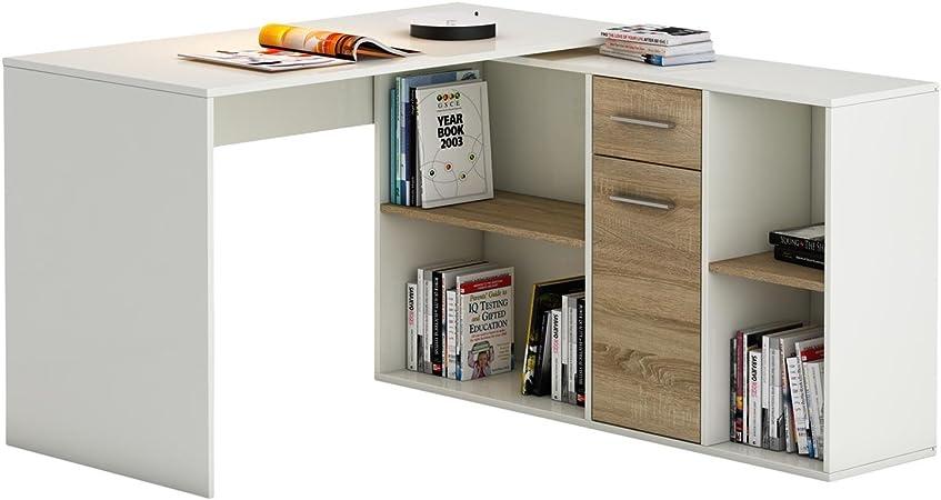 Idimex Bureau D Angle Carmen Table Avec Meuble De Rangement Integre Et Modulable Avec 4 Etageres 1 Porte Et 1 Tiroir Decor Blanc Mat Et Chene Sonoma