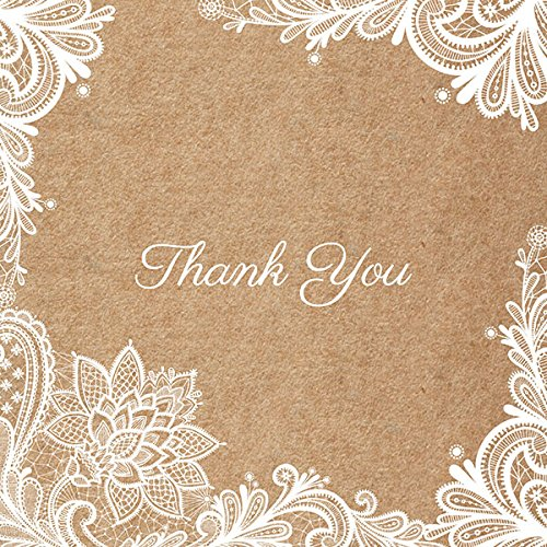 Thank You Cards Rustic Lace Pattern Pack Of 10 Wedding