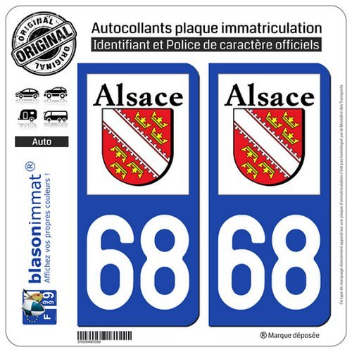 blasonimmat 2 Autocollants Plaque immatriculation Auto 68 Alsace - Logotype