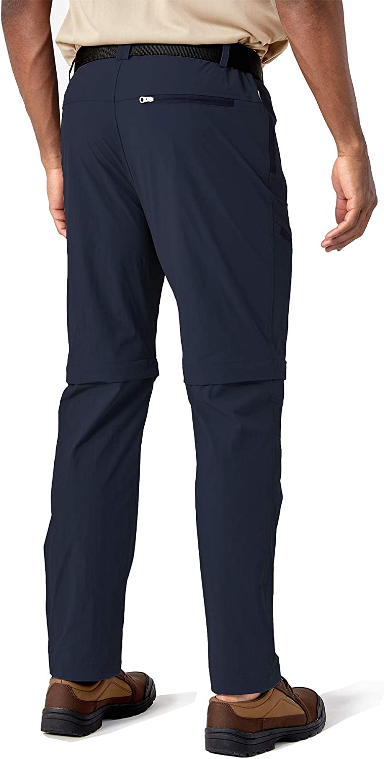 TACVASEN Mens Outdoor Trousers Quick Dry Hiking Trousers Zip Off Convertible Walking Trousers with Zip Pockets