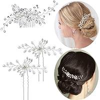 3 st bröllopshår kam glider brud pärla hårklämma kristall strass hårnålar bröllop hår huvud stycke brud hårtillbehör för…