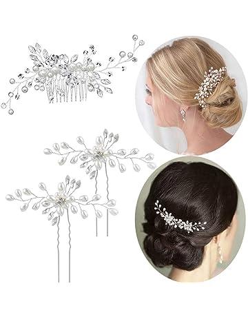 Set 5 épingles à cheveux Lily Fleur Mariage Mariée Bijoux de cheveux strass turquoise bleu nouveau