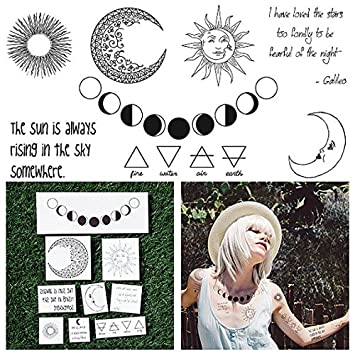 97971044ddac1 Amazon.com : Tattify Moon Themed Temporary Tattoos - Night and Day (Set of  18 Tattoos - 2 of each Style) - Individual Styles Available and Fashionable  ...