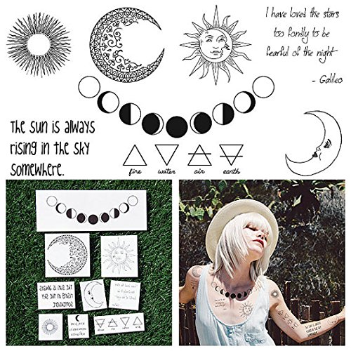 Moon Temporary Tattoo (Tattify Moon Themed Temporary Tattoos - Night and Day (Set of 18 Tattoos - 2 of each Style) - Individual Styles Available and Fashionable Temporary)