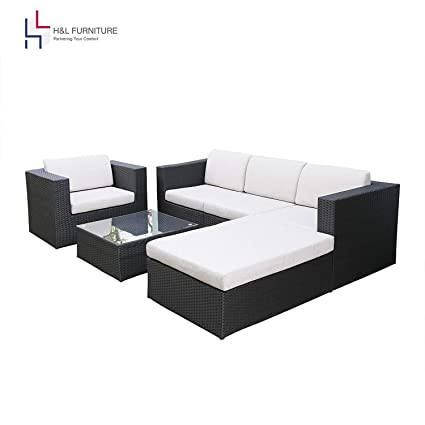 H&L Patio 6PCS Rattan Wicker Sofa Set, Outdoor Garden Furniture, Black, Cushioned Sofa Set with Ottoman, No Assembly Required