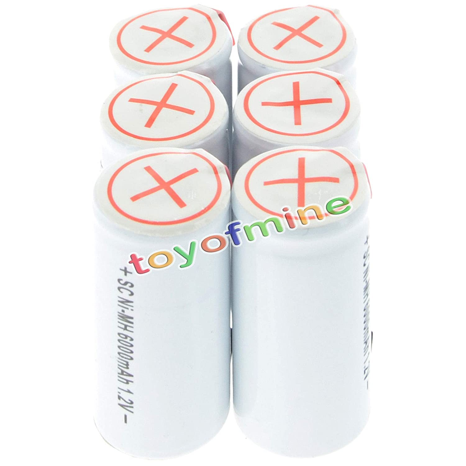Powerton Six NiMh 4//5 SubC Sub C 1.2V 1800mAh Rechargeable Batteries with Tabs 6