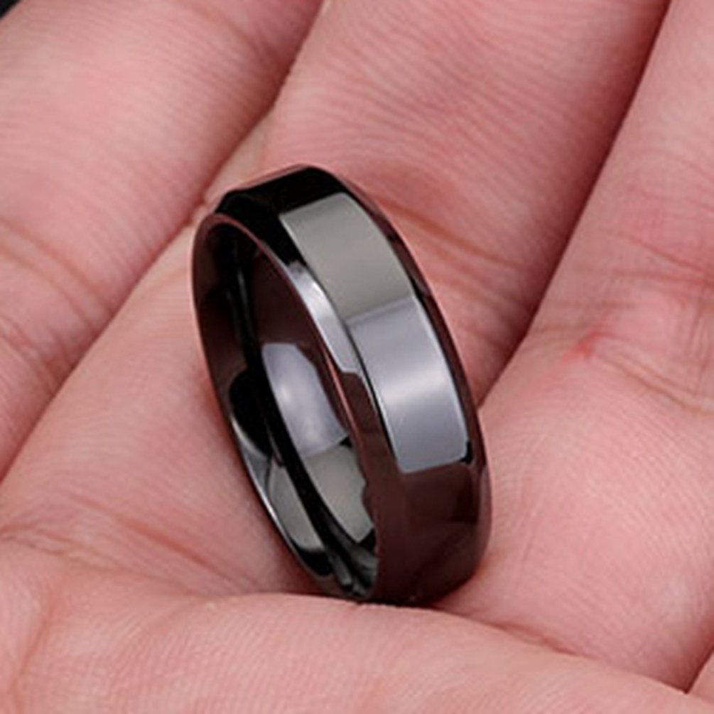 Men Women Wedding Bands 6MM Black Tungsten Carbide Promise Rings ...