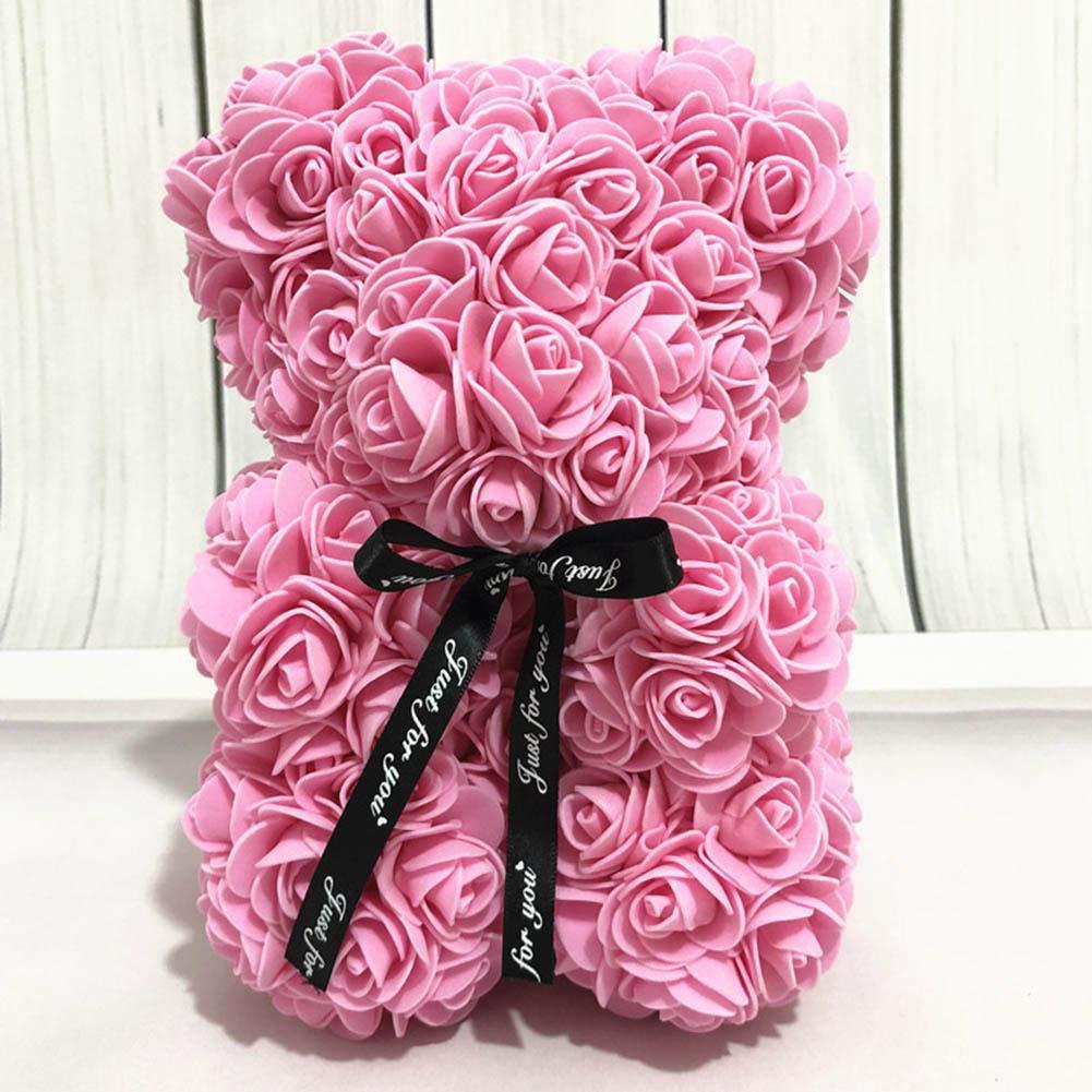 regalo ragazze 25 cm simulato bambola orsetto rosa morbido fiore bambola fatta a mano in PE giocattoli per il giorno di San Valentino