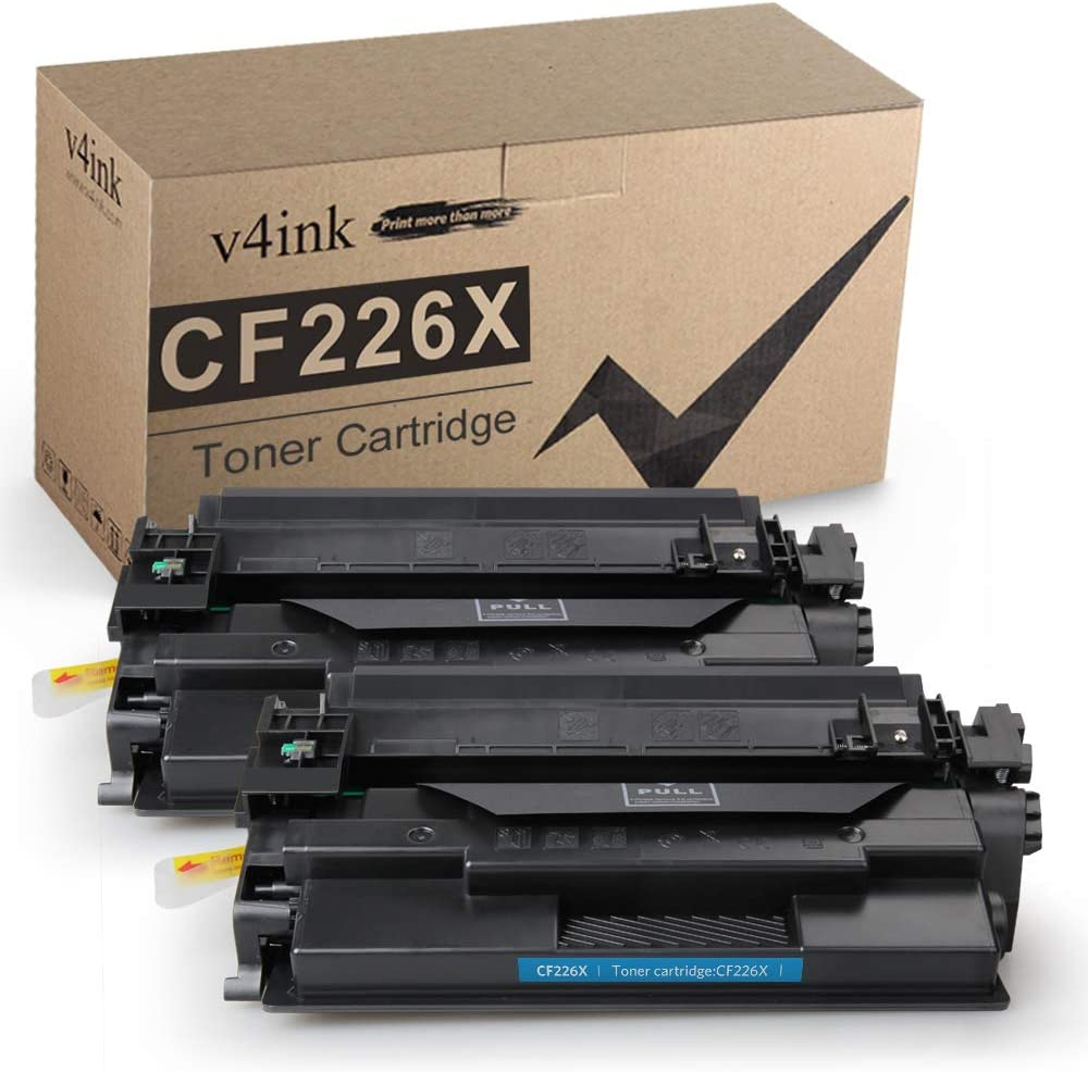v4ink 2 Pack High Yield Compatible Toner Replacement for HP 26X CF226X 26A CF226A Black Toner Cartridge for Laserjet Pro M402dn M402n M402dw M402dne, MFP M426fdw M426fdn Printer, Enhanced Version