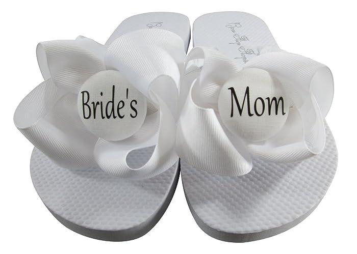 d08737443b0 All White with Black Lettering Bride s Mom Flip Flops for cute wedding  shower gift