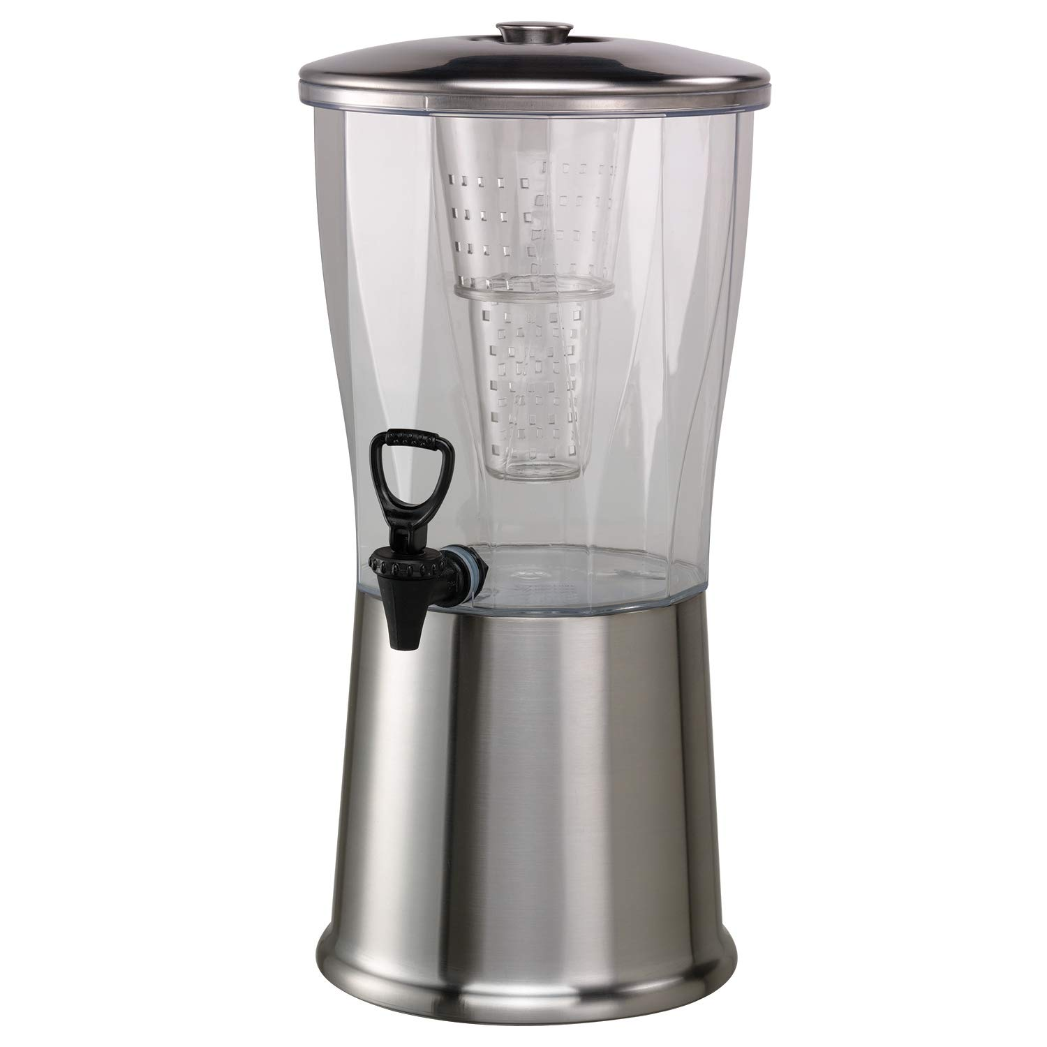 Service Ideas CBDRT3SS Beverage Dispenser, Round, 3 Gallon,Stainless Steel w/Ice Well and Infuser Tube, Silver