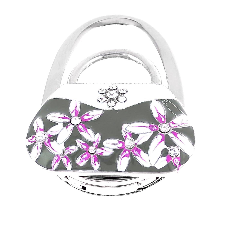 Rhinestone Inlaid Flowers Accent Handbag Silver Tone Hand Bag Hook
