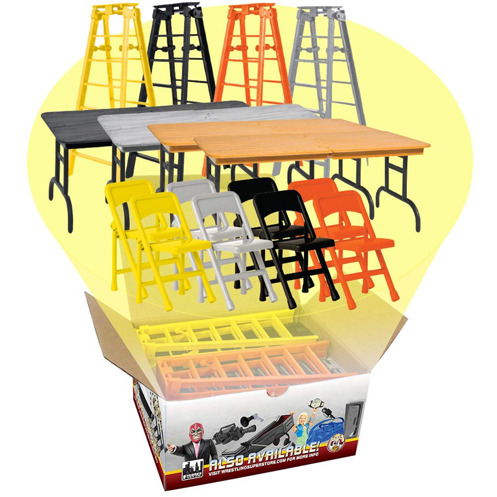 Figures Toy Company Complete Set of all 4 Ultimate Ladder Table and Chairs Playsets for WWE Wrestling Action Figures