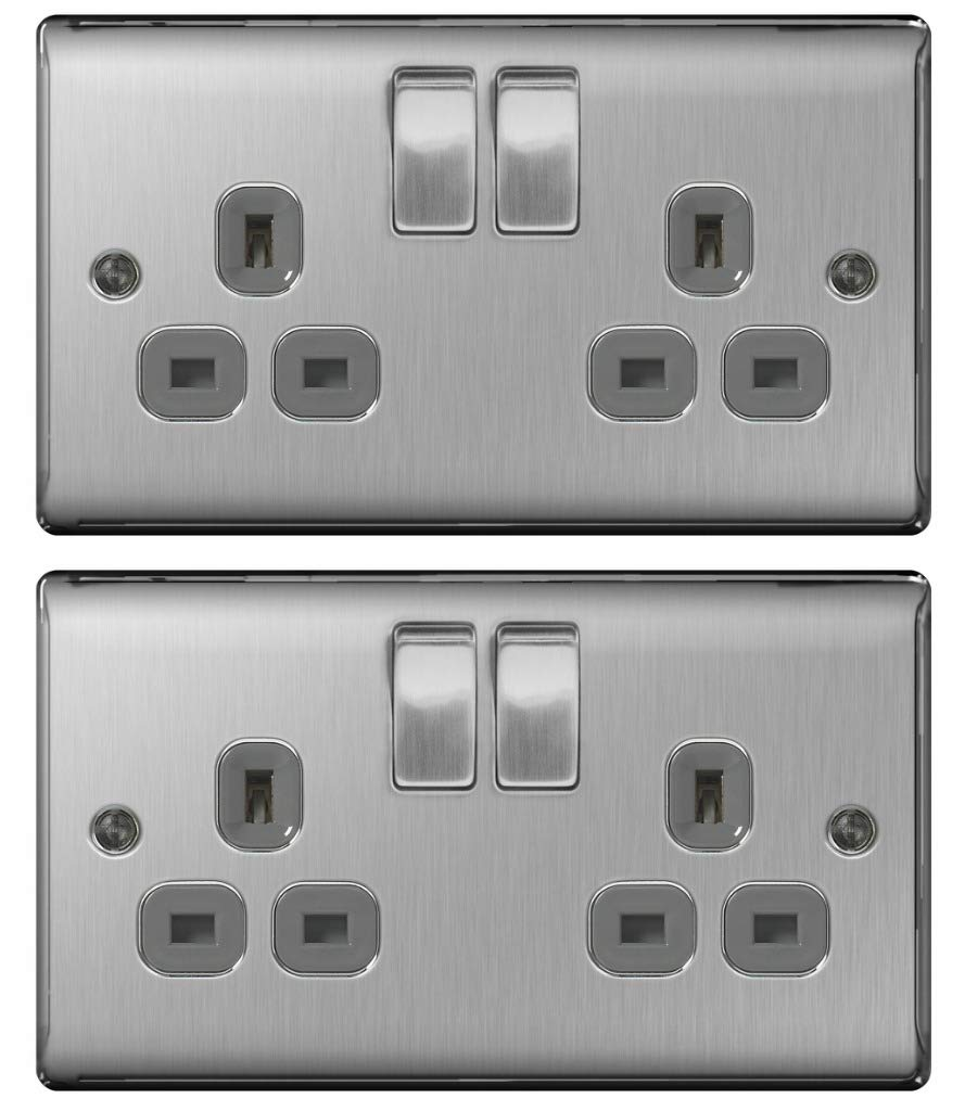 Pack of 2 x BG NBS22G Brushed Steel/Satin Chrome Twin Switch Sockets - 13amp British General