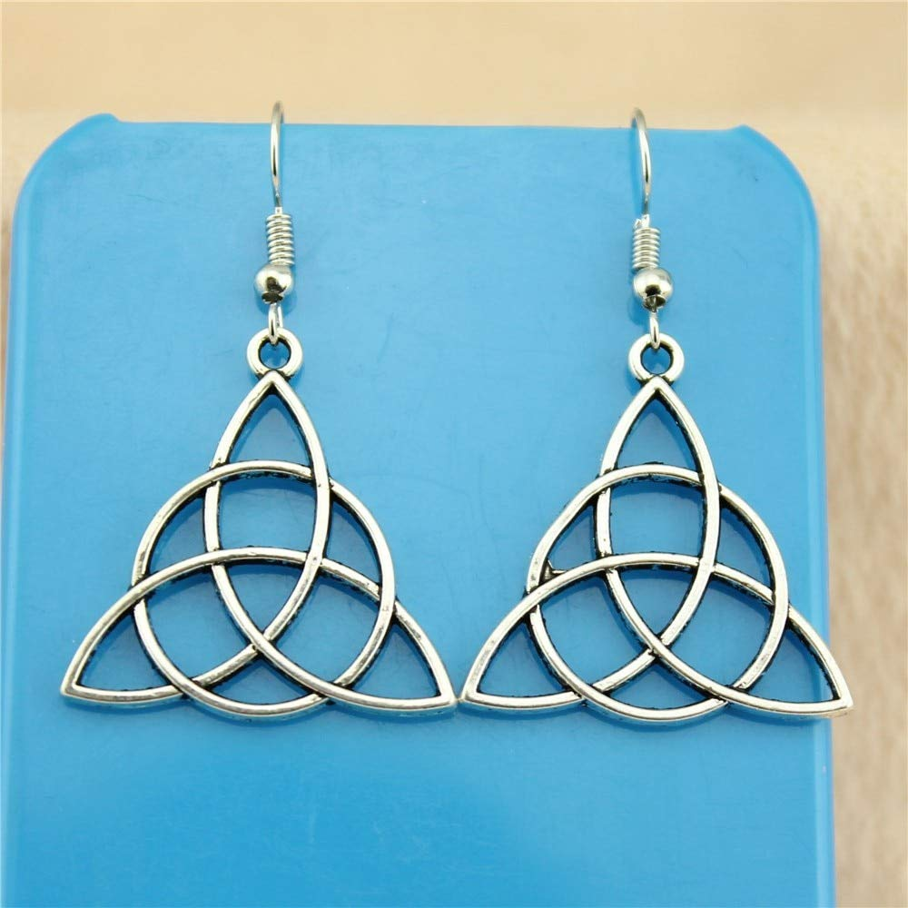 WYSIWYG 3 Pairs Drop Earrings Earrings for Girls Triquetra Symbol 28mm with Earring Backs Stopper