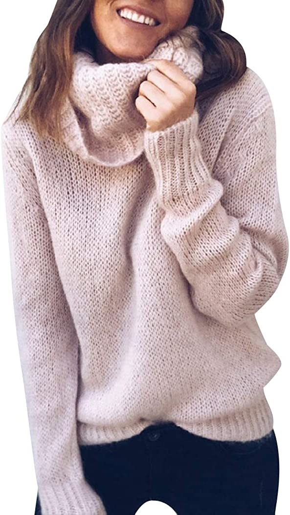 Jerseys de Punto Mujer Jersey Punto Cuello Vuelto Mujer Oversize Grueso Sueter Señora Gordos Ancho Sweaters Sweater Tejido Jerséis Suéter de Mujer Tejido Jerséy Pullover Sueteres Anchos Invierno