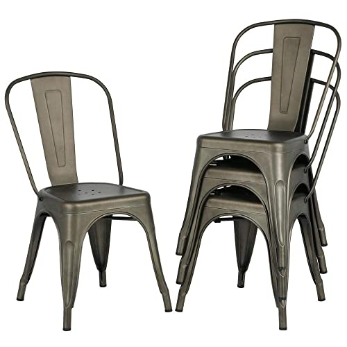 Topeakmart Classic Iron Metal Dinning Chairs Indoor-Outdoor Use Chic Dining Bistro Cafe Side Barstool Bar Chair Coffee Chair Gun Metal Set of 4