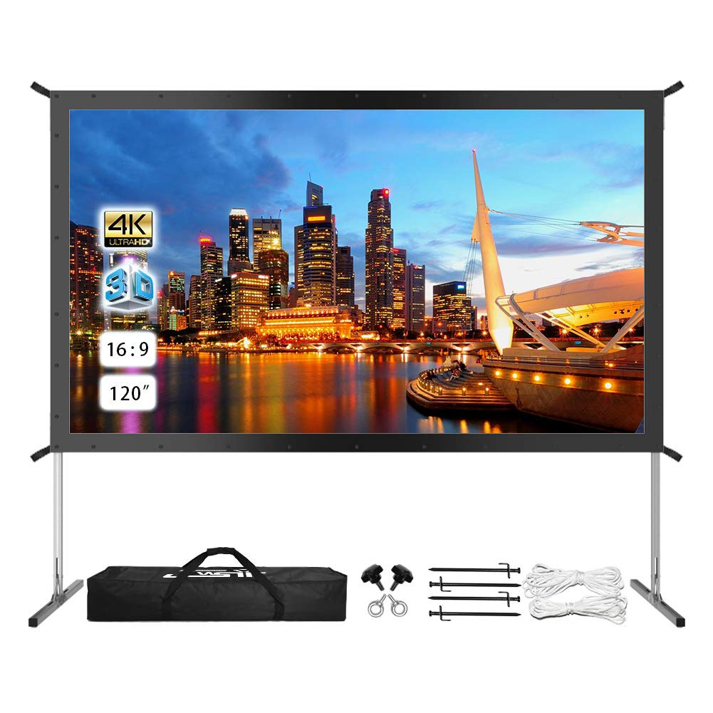Projector Screen with Stand, UPGRADED 120'' 4K HD Outdoor/Indoor Portable Projector Screen 16:9 Foldable Movie Projection Screen with Carry Bag for Home Theater Camping Gaming Backyard Movie