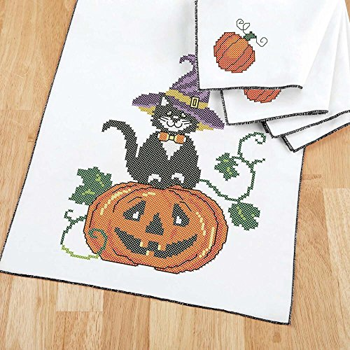 Herrschners® Witchy Cat Table Runner & Napkins Stamped Cross-Stitch