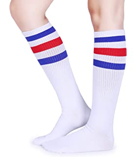 e52d55e22e3 Pareberry Classical Triple Stripes Soft Cotton Over-the-Calf Retro Tube  Socks