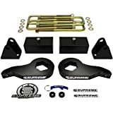 """Supreme Suspensions - Chevy Silverado 1500HD 2500HD 3500HD 1"""" to 3"""" Front Steel Torsion Keys + 1"""" Rear Billet Blocks with UBolts Full Suspension Leveling Lift Kit 4x2 4x4 Includes Shock Extenders PRO"""