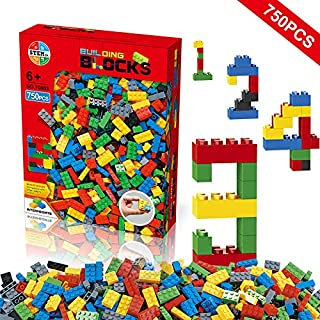 Building Blocks 750 Pieces Set, Building Bricks Creative DIY Interlocking Toy Set Random Colors Mixed Shape ABS Puzzle Construction Toys Set for Kids and Toddlers Age 6+(750 PCS)