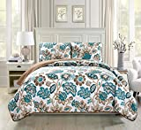 Mk Collection 3pc Bedspread coverlet quilted Floral Off White Green Brown Full/Queen Over Size 106'' x 95'' #Venice New …