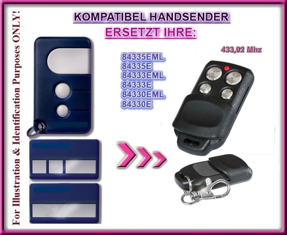 843334eml 84335EML-Old compatible handsender /émetteur 84333eml 433.92/Mhz rolling code de rechange Top qualit/é ersatzger/ät. Moteur Lift 84330eml