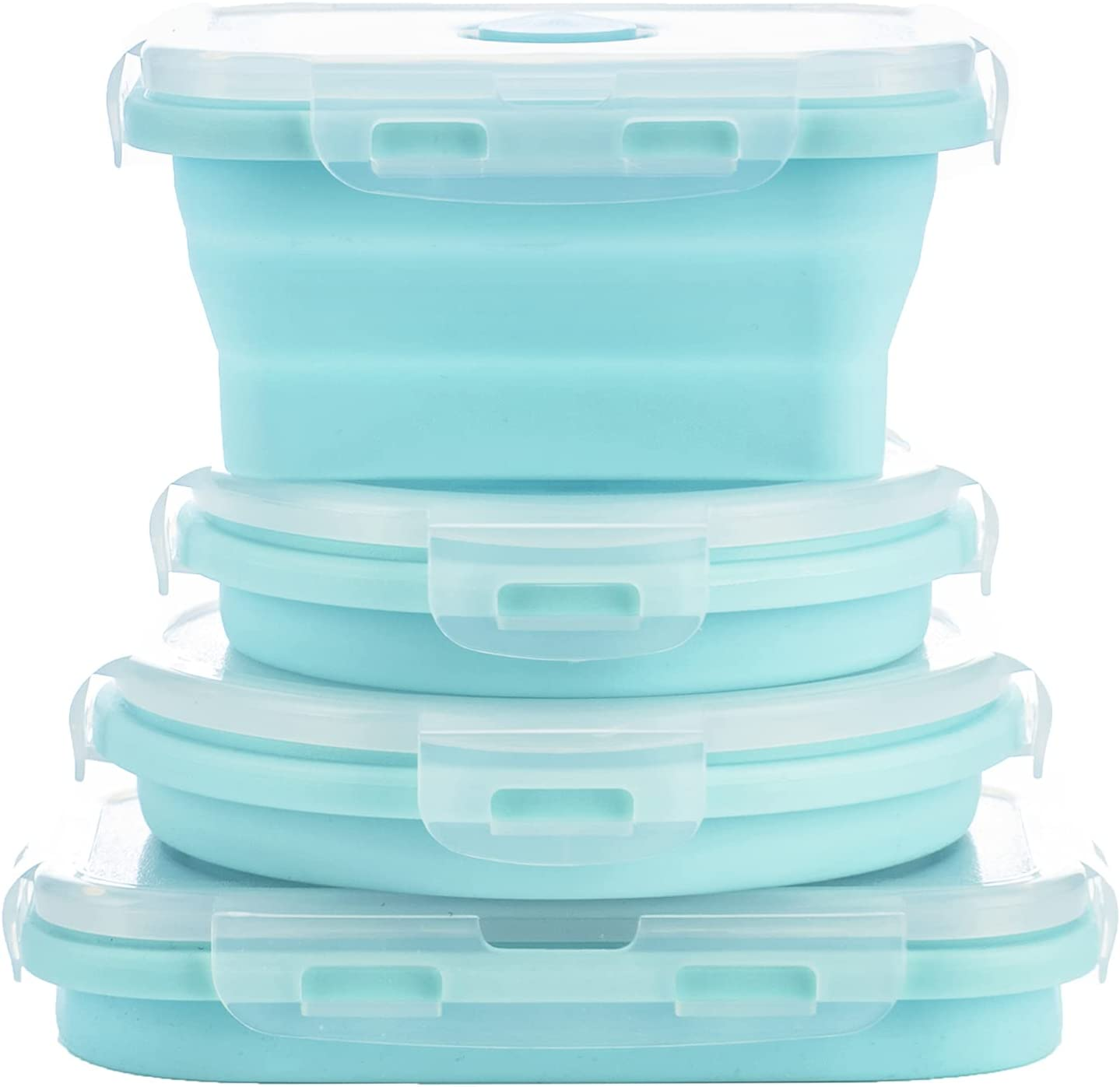Collapsible Silicone Food Storage Containers with Airtight Lids, Set of 4 Bento Box for Kids Adults,Microwave and Freezer and Dishwasher Safe, with Vent Valve, BPA Free (Light Blue, 500ml and 800ml)