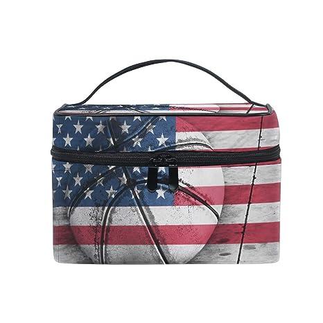 Bolsa de Maquillaje de Viaje Bandera de Estados Unidos Baloncesto ...