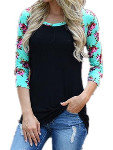 Blusas Y Camisas Mujer Estampadas Flores Camiseta Tops Con Mangas Largas Tallas Grandes