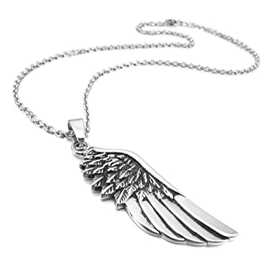 Amazon inblue mens stainless steel pendant necklace silver inblue mens stainless steel pendant necklace silver tone feather angel wing with 23 inch chain mozeypictures Choice Image