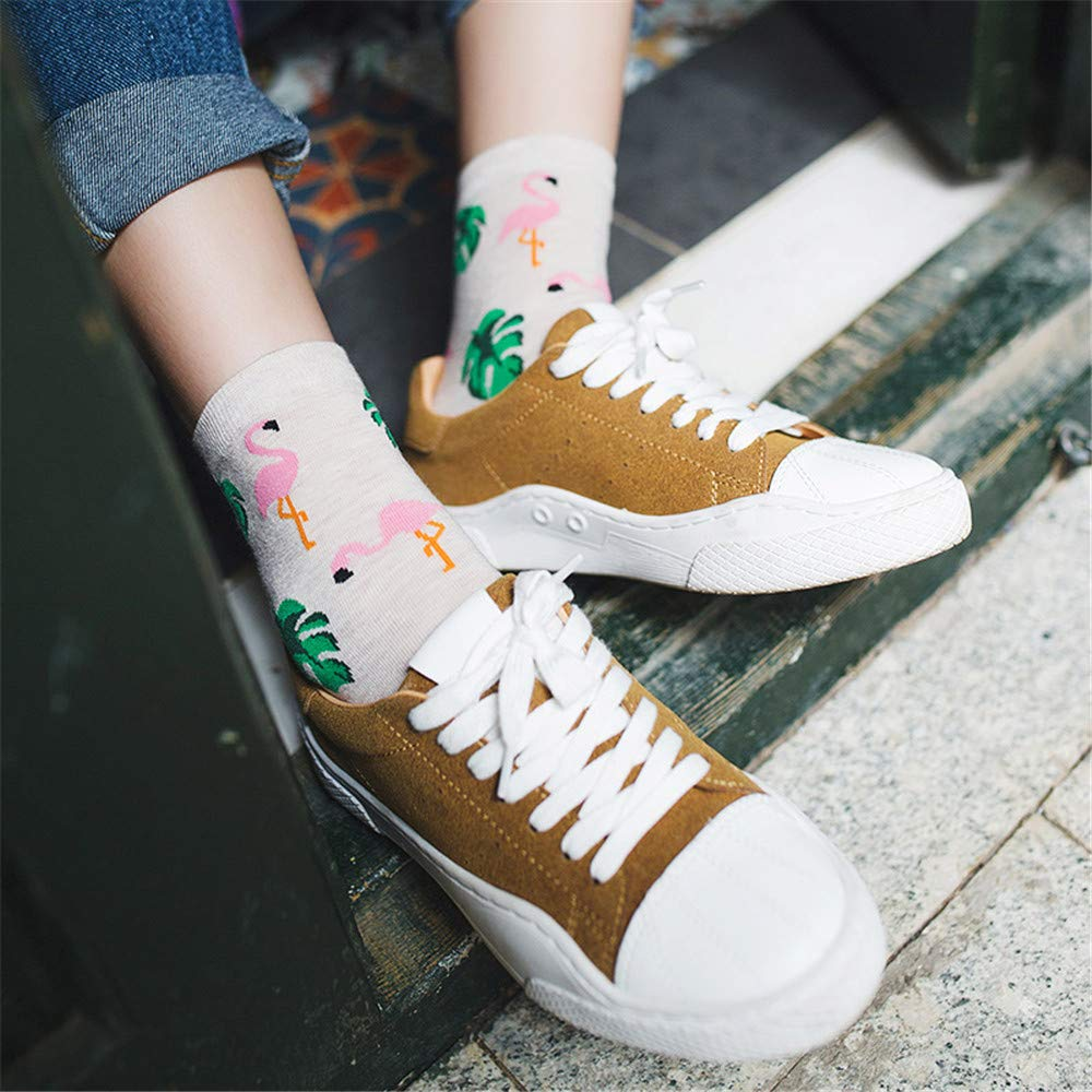 4 Pairs Cute Jacquard/Plants Printing Pattern Art Socks Women Korean Animal/Cactus Socks Funny Socks Kawaii Sokken Calcetines at Amazon Womens Clothing ...