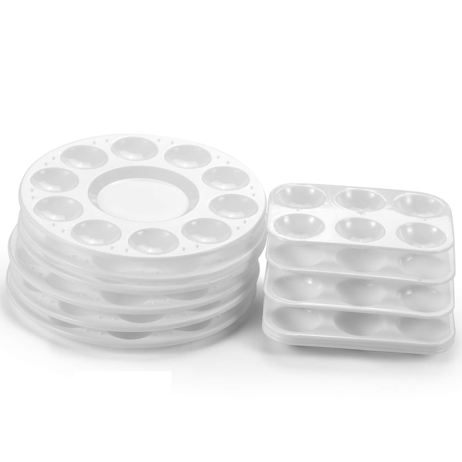 YOUNG4US 12 Pack Paint Tray Palettes Cups Plastic Rectangular & Round for Acrylic Oil Watercolor Craft DIY Art Painting Palettes, White