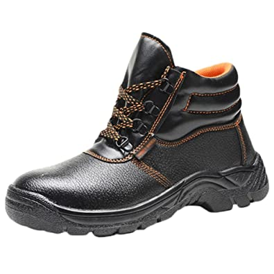 d988b25cfa4 NiSeng Mens Comfortable and Breathable Work Boots Protect Worker's Foot  Safety Spring and Summer Safety Shoes Anti-Smashing Durable