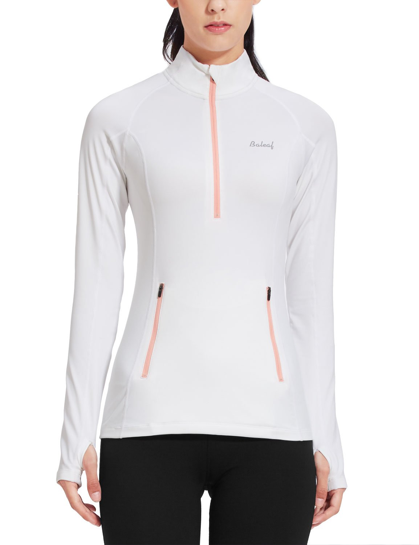 Baleaf Womens Thermal Fleece Half Zip Thumbholes Long Sleeve Running Top