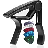 WINGO Quick-Change capo for Acoustic and Electric Guitars with 5 Picks for Free, Black.