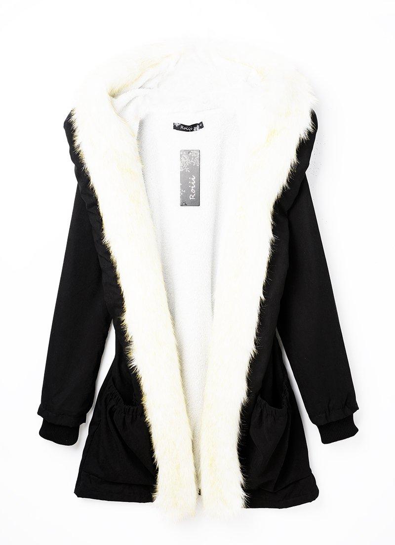 Roiii Women Thicken Warm Winter Coat Hood Parka Overcoat Long Jacket Outwear Black Medium Black Medium by Roiii (Image #3)