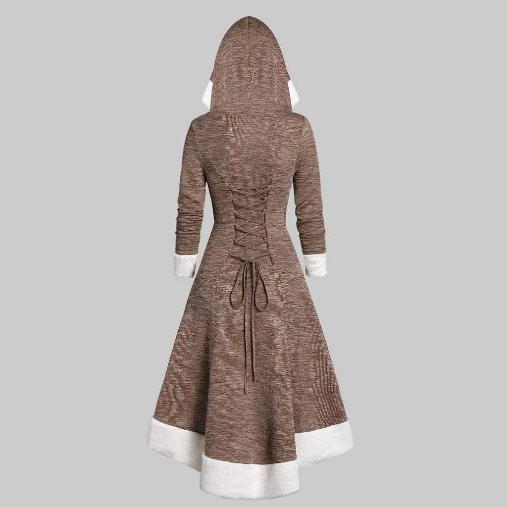 Toimothcn Women Christmas Santa Costumes Mrs Clause Dress Funny Cosplay Party Hooded Pullover Dress