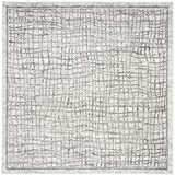 Safavieh Adirondack Collection ADR103B Silver and Ivory Modern Distressed Square Area Rug (4' Square)